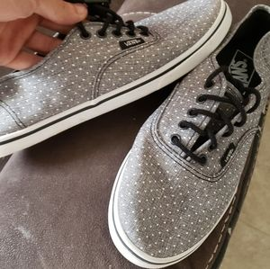 Like New Gray + White Polka Dot Vans size 7 shoes